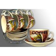 Чайный набор EL-2111 12пр. чашки  300мл на стойке